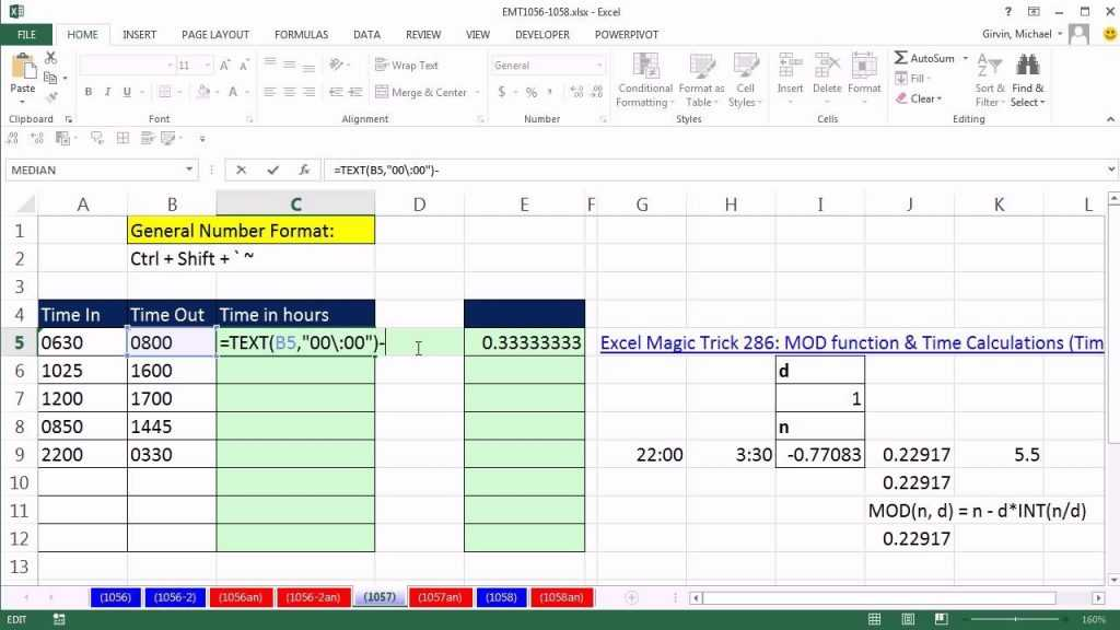 Excel Magic Trick 1057 Calculate Hours Worked From Text