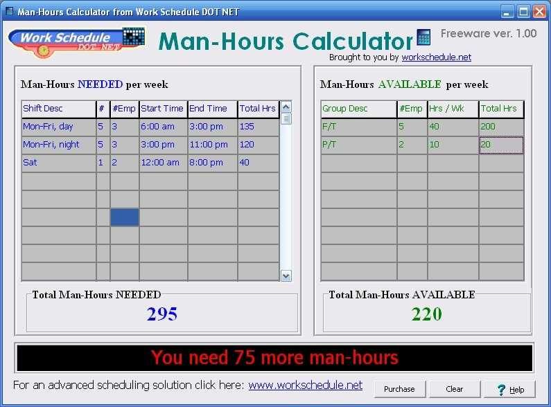 Man Hours Calculator Free Download For Windows 8 Windows