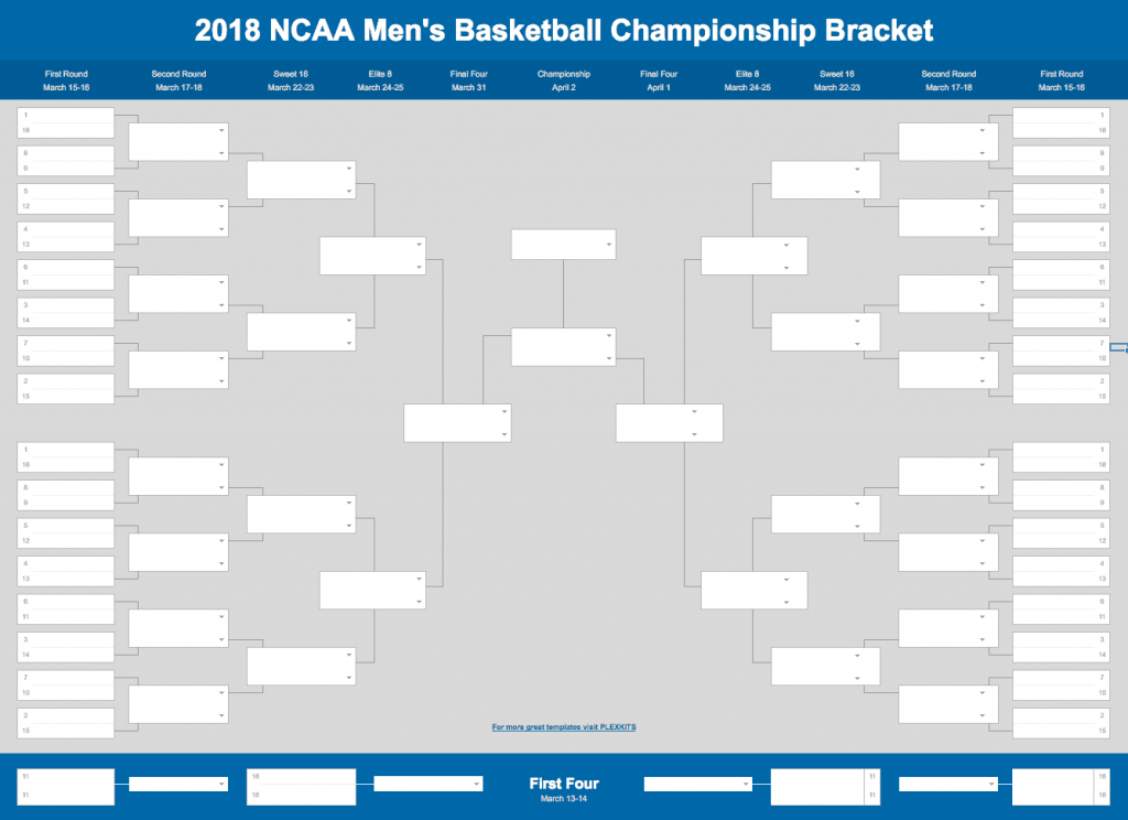 2020 March Madness Bracket Excel And Google Sheets Template