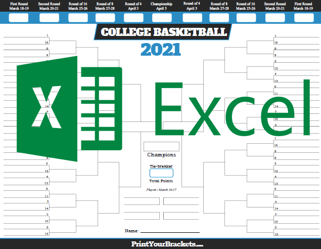 Excel Template NCAA March Madness Bracket 2019