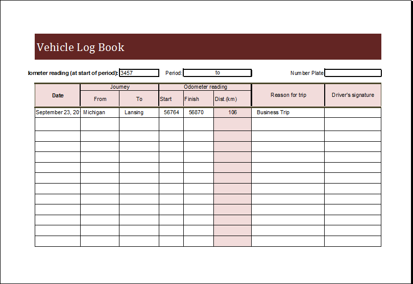 Vehicle Log Book Template For EXCEL Word Excel Templates