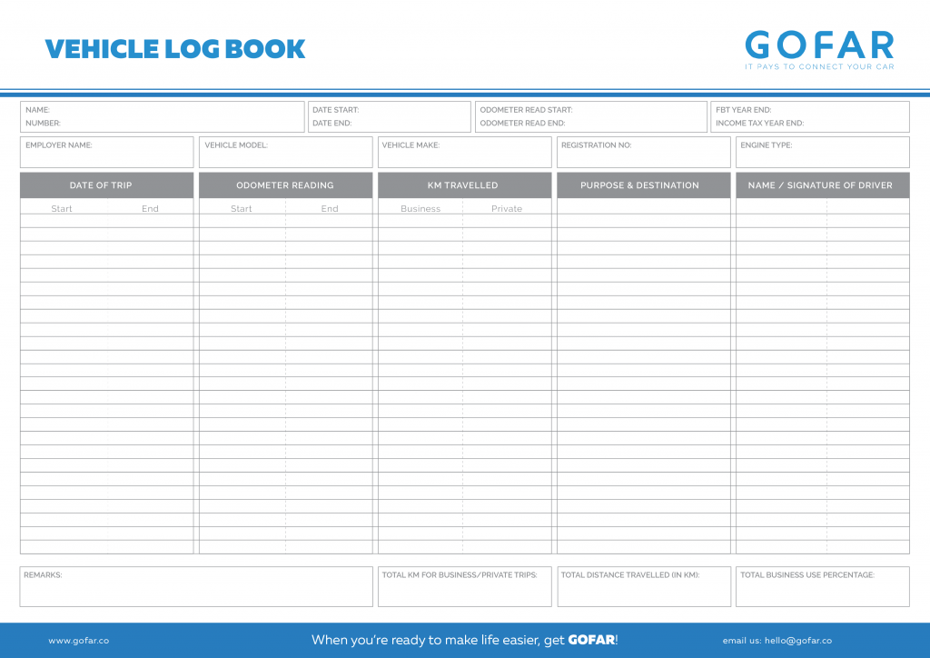 Vehicle Logbook Templates GOFAR