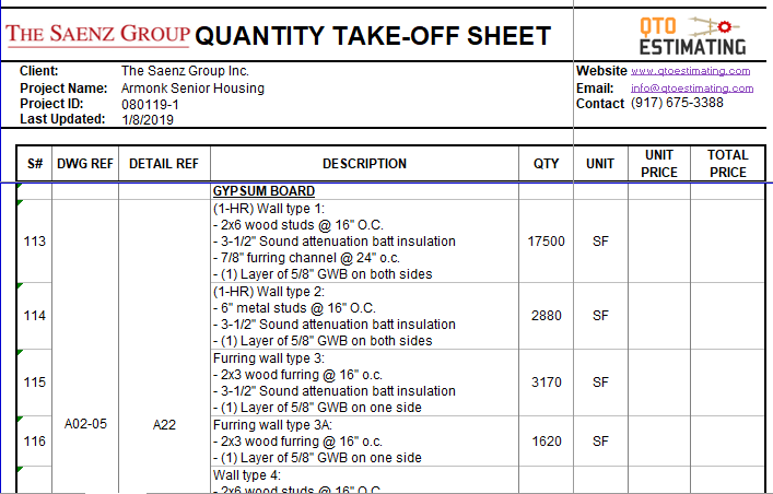 Construction Material Takeoff Excel Spreadsheet Templates