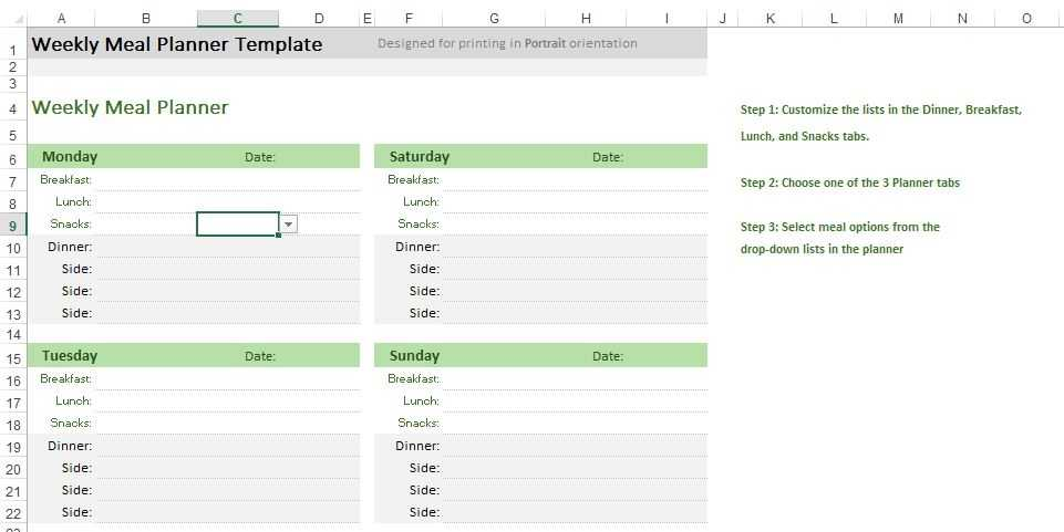 Meal Planner Excel Templates For Every Purpose