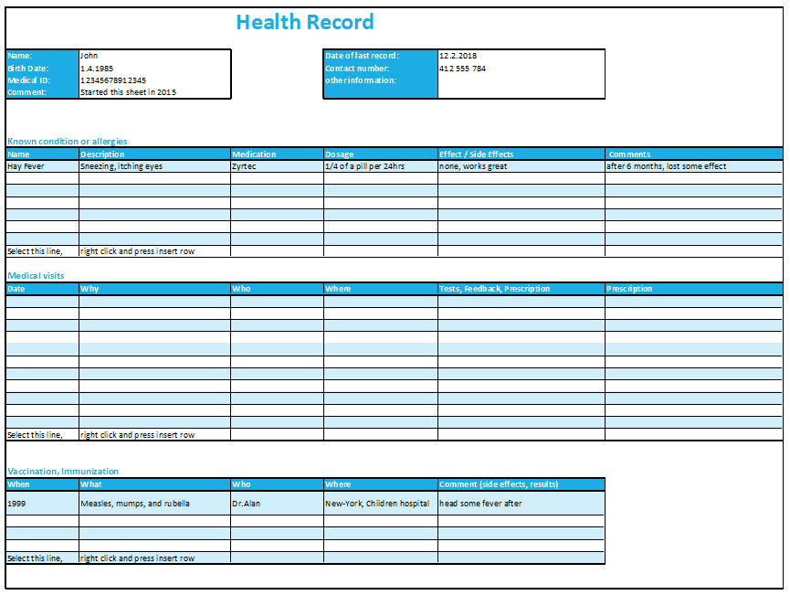 Excel Health Record Tracking Log Template By ExcelMadeEasy