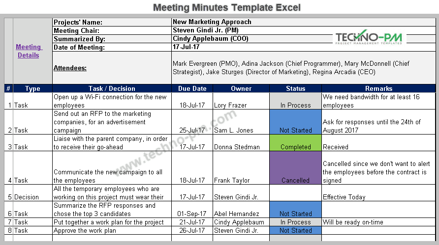 Meeting Minutes Template Excel And Word Free Download