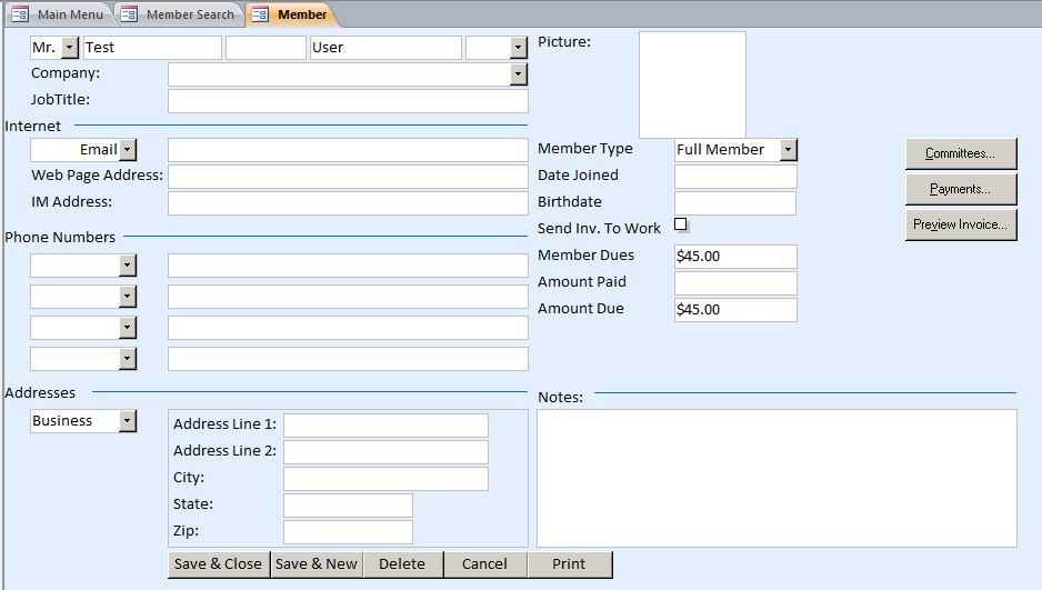 Membership Tracking Database Template Membership