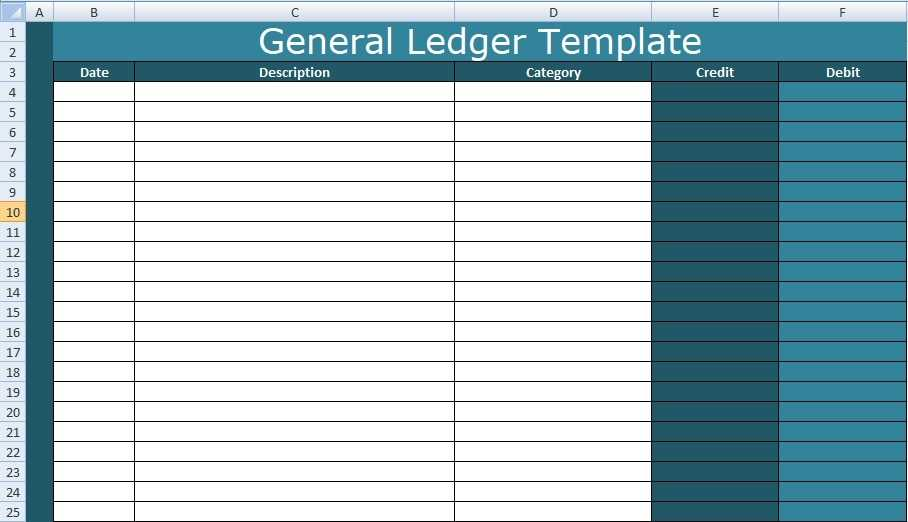 General Ledger Template Excel XLS Free Excel