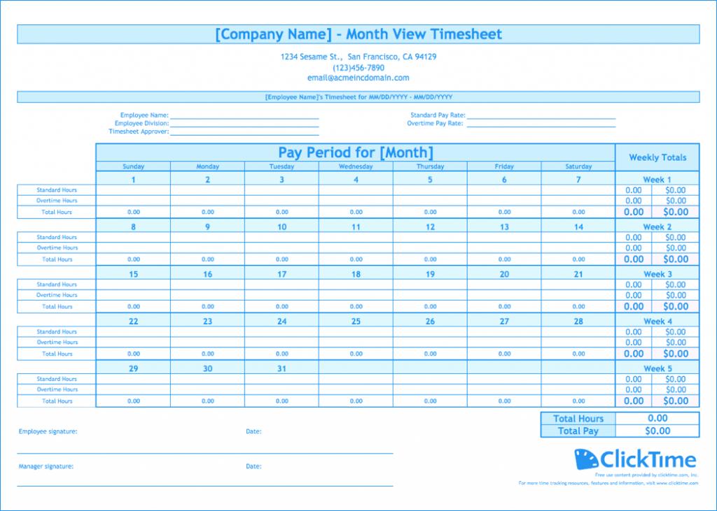 Free Monthly Timesheet Template ClickTime