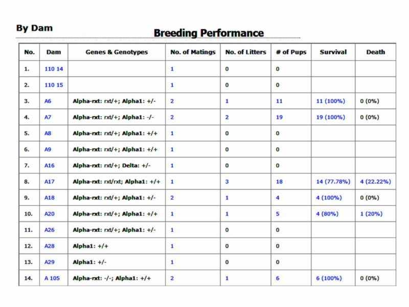 MLIMS Transgenic Mouse Colony Management LIMS Software