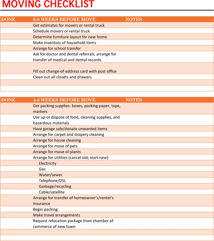 5 Moving Checklist Templates For Excel Word Ultimate Guide
