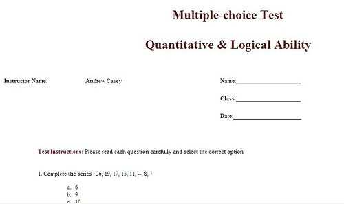 5 Multiple Choice Test Templates Excel Xlts