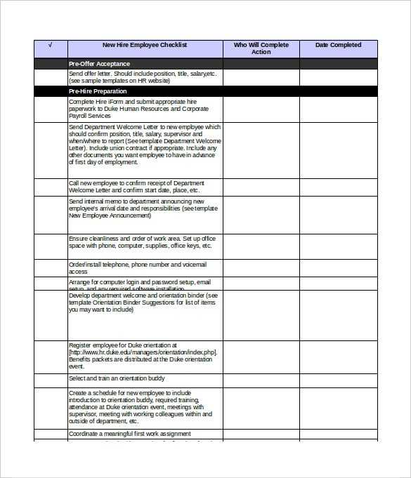 New Hire Checklist Template 18 Free Word Excel PDF