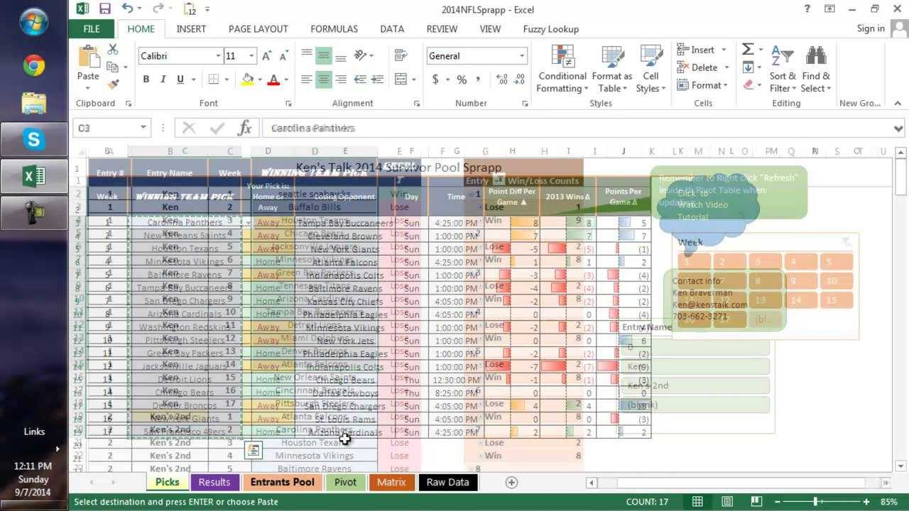 Making The Best NFL Survivor Pool Picks In Excel YouTube