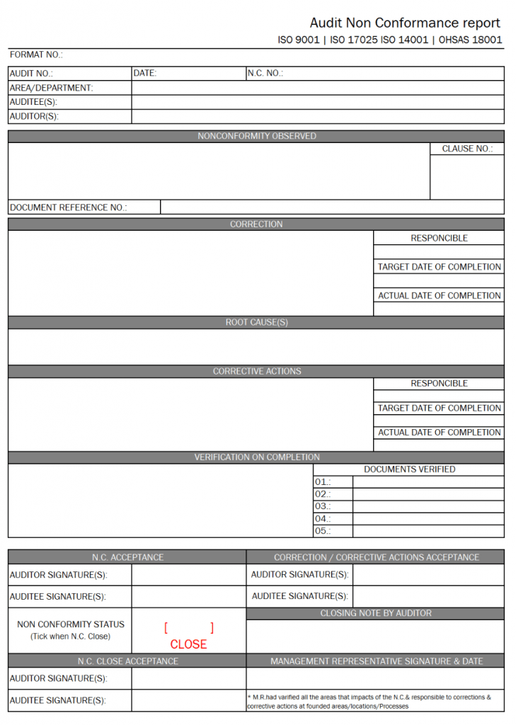 Audit Non Conformance Report Format Excel Pdf Sample