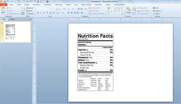Nutrition Label Template Excel Printable Label Templates