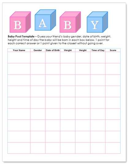 WordDraw Free Baby Pool Template For Microsoft Word