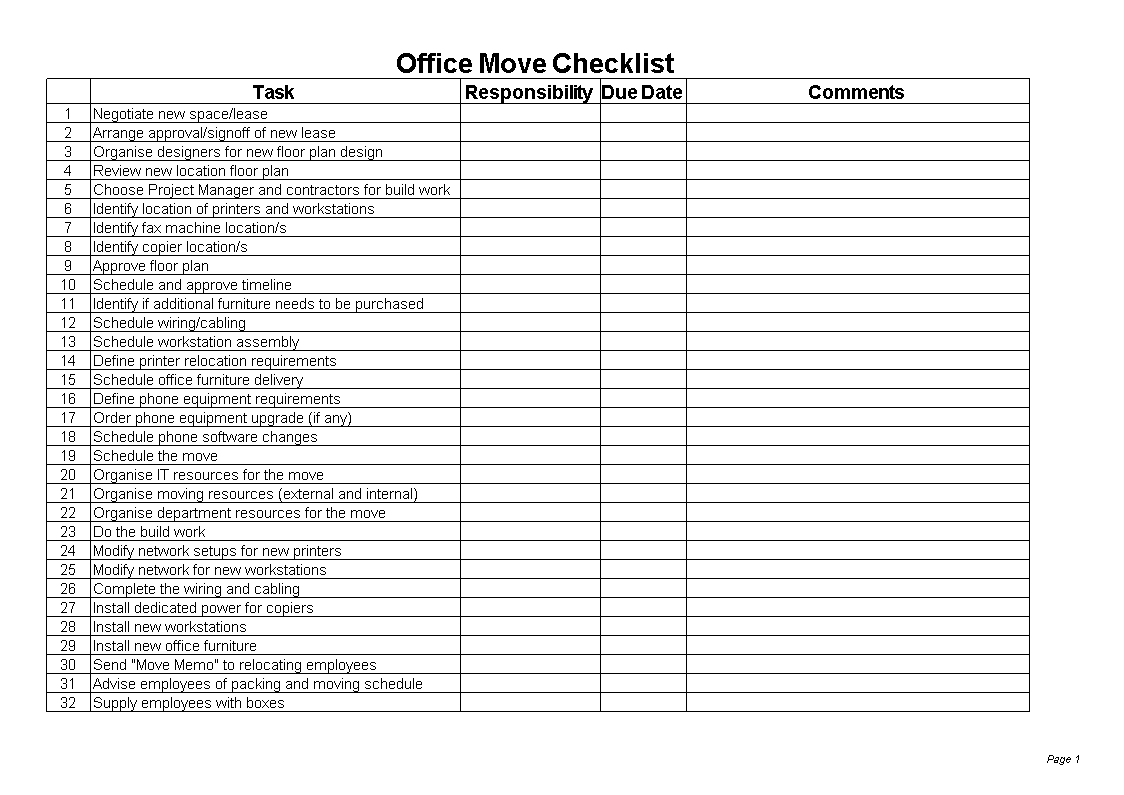 Office Move Checklist Excel Templates At