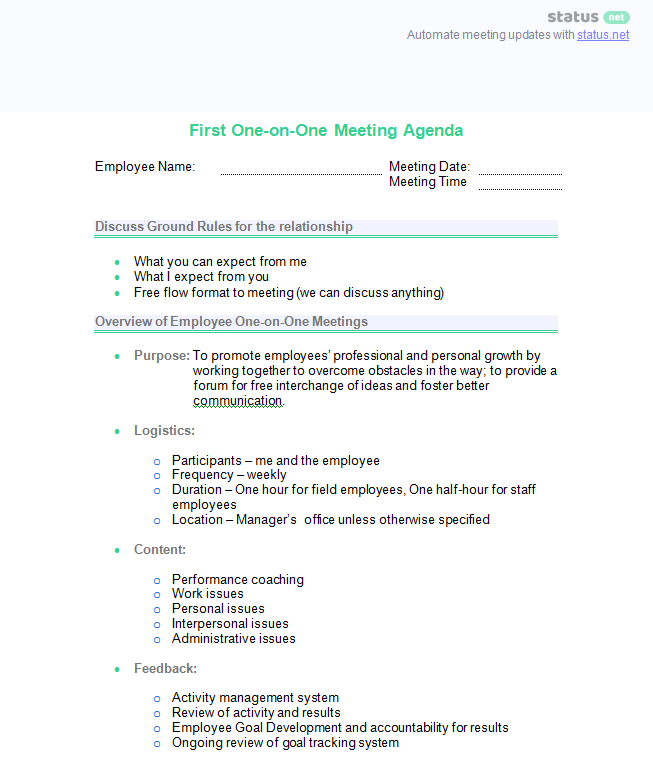 One On One Meeting Sample Questions And 2 Best Agenda