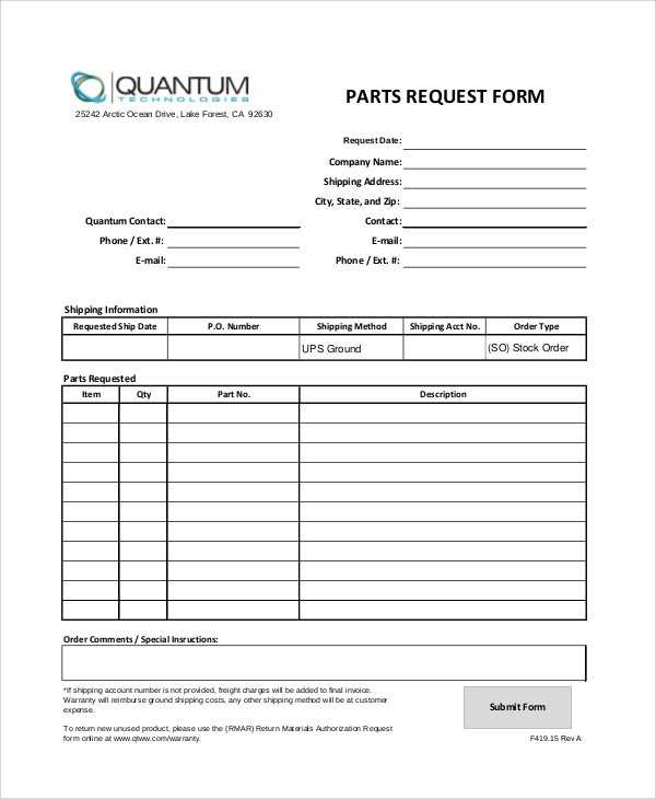Sample Parts Order Form 11 Examples In Word PDF