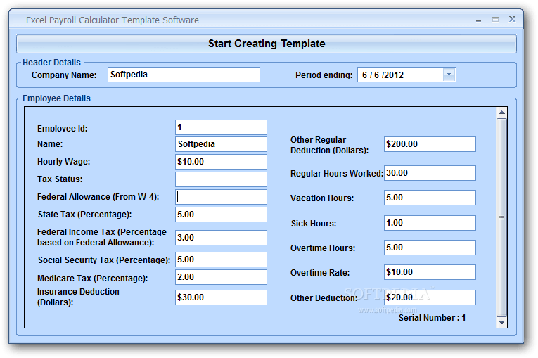 Download Excel Payroll Calculator Template Software 7 0