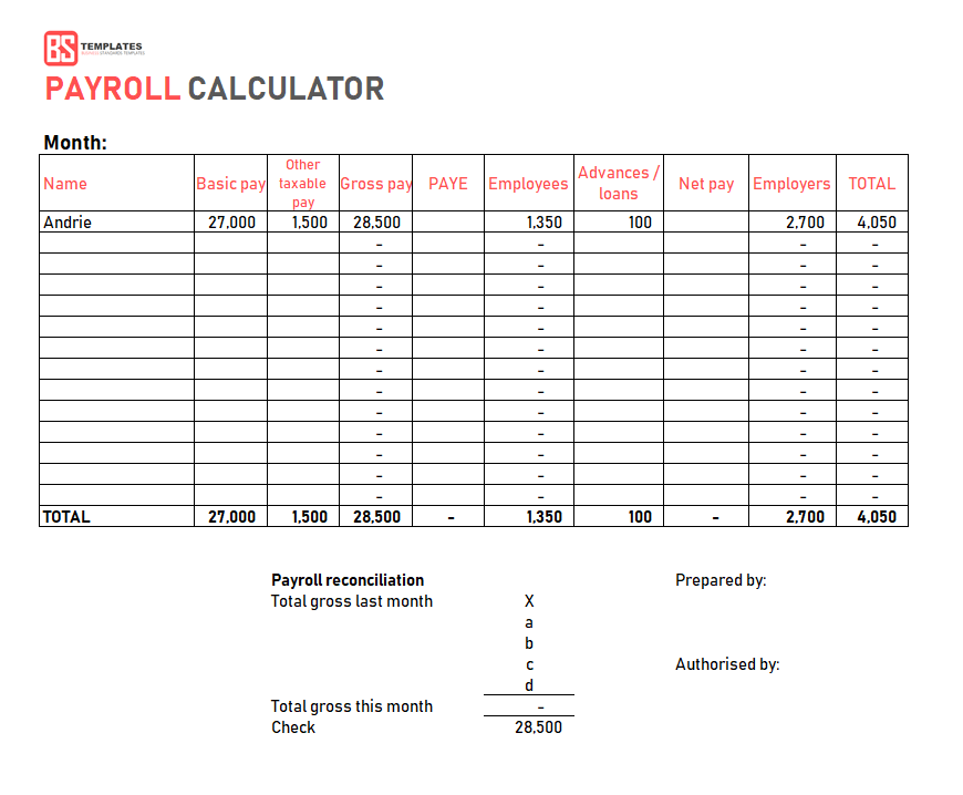 Payroll Template Free Employee Payroll Calculator For