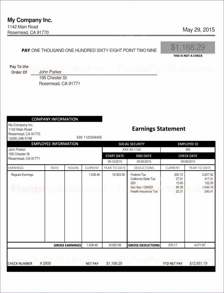 10 Excel Pay Stub Template Excel Templates Excel Templates