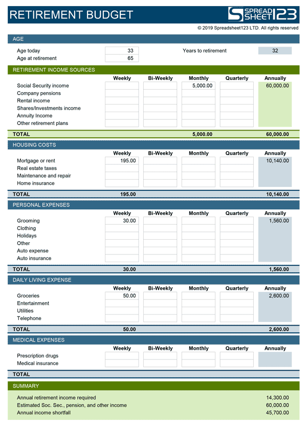 Retirement Budget Planner Free Template For Excel
