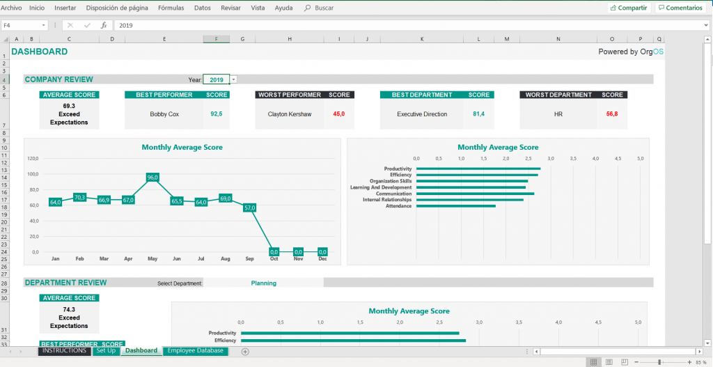 Excel Employee Performance Review Template FREE Download