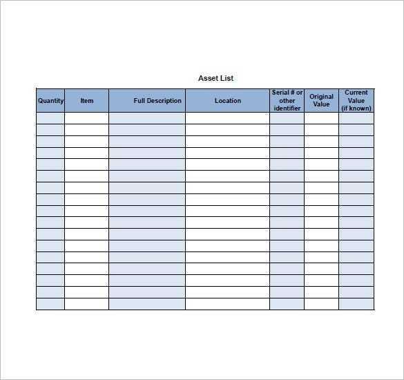 Asset List Template 8 Free Word Excel PDF Format
