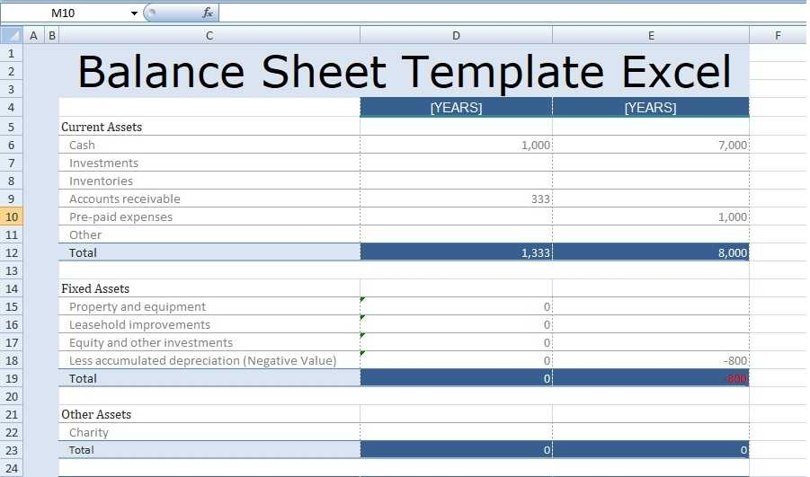 Balance Sheet Template Excel Free Excel Spreadsheet