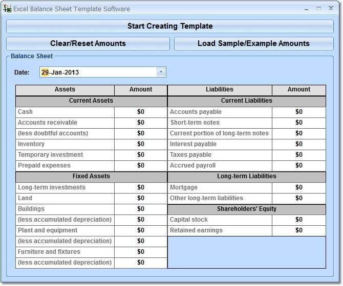 Excel Balance Sheet Template Software Free Download And