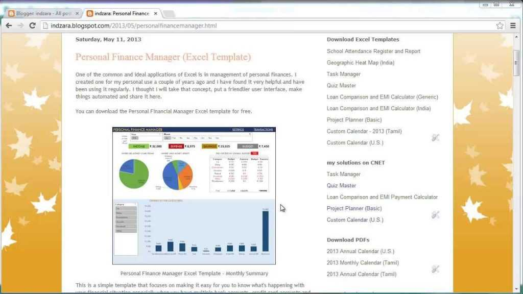Personal Finance Manager Excel Template YouTube