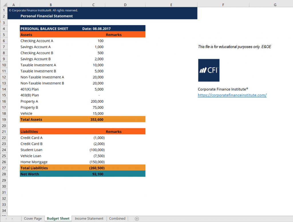 Personal Financial Statement Excel Template Get Free