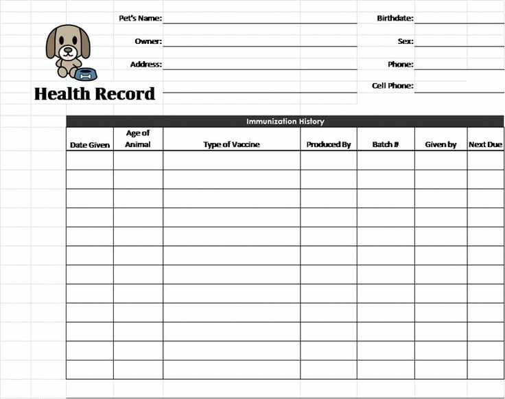 Pet Health Record Printable Template Business PSD Excel