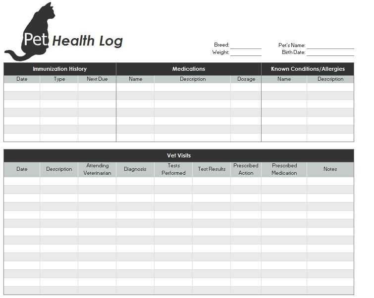 Pet Health Record Template Pet Health Records