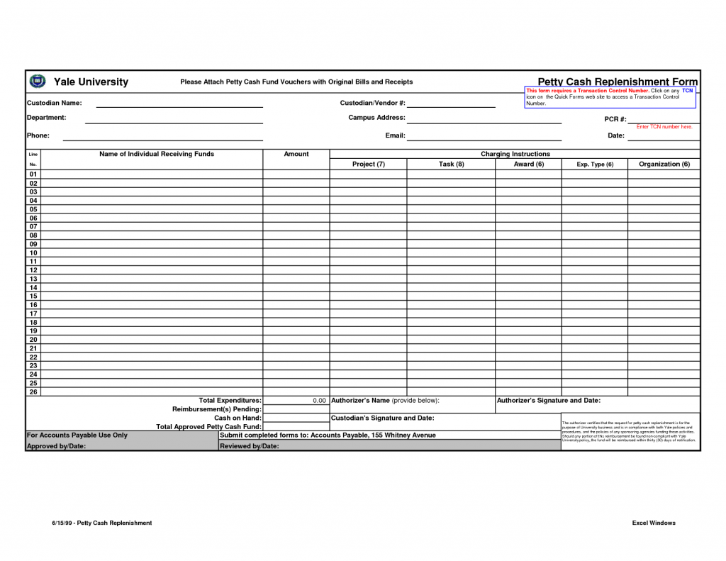 Petty Cash Form Template Excel Excel Templates