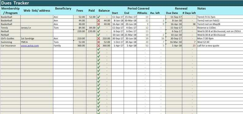 Prepayments Tracker Excel Template Dues Log Spreadsheet Etsy