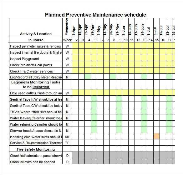39 Preventive Maintenance Schedule Templates Word