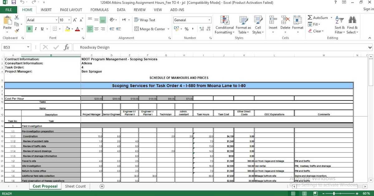 Standard Cost Proposal Excel Template ENGINEERING MANAGEMENT