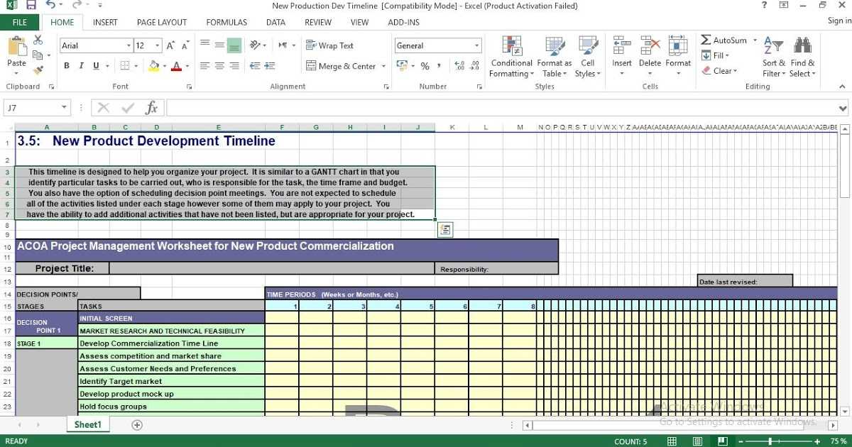 New Product Development Timeline Excel Template