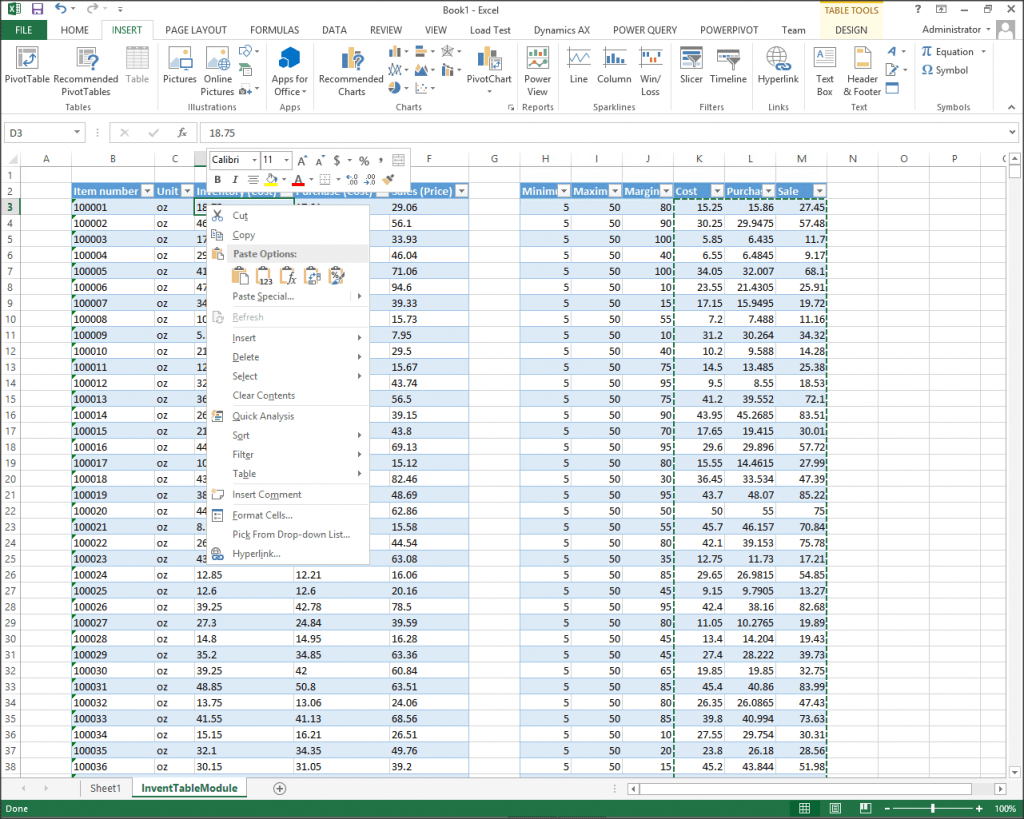 Creating An Excel Template For Updating Product Costs And
