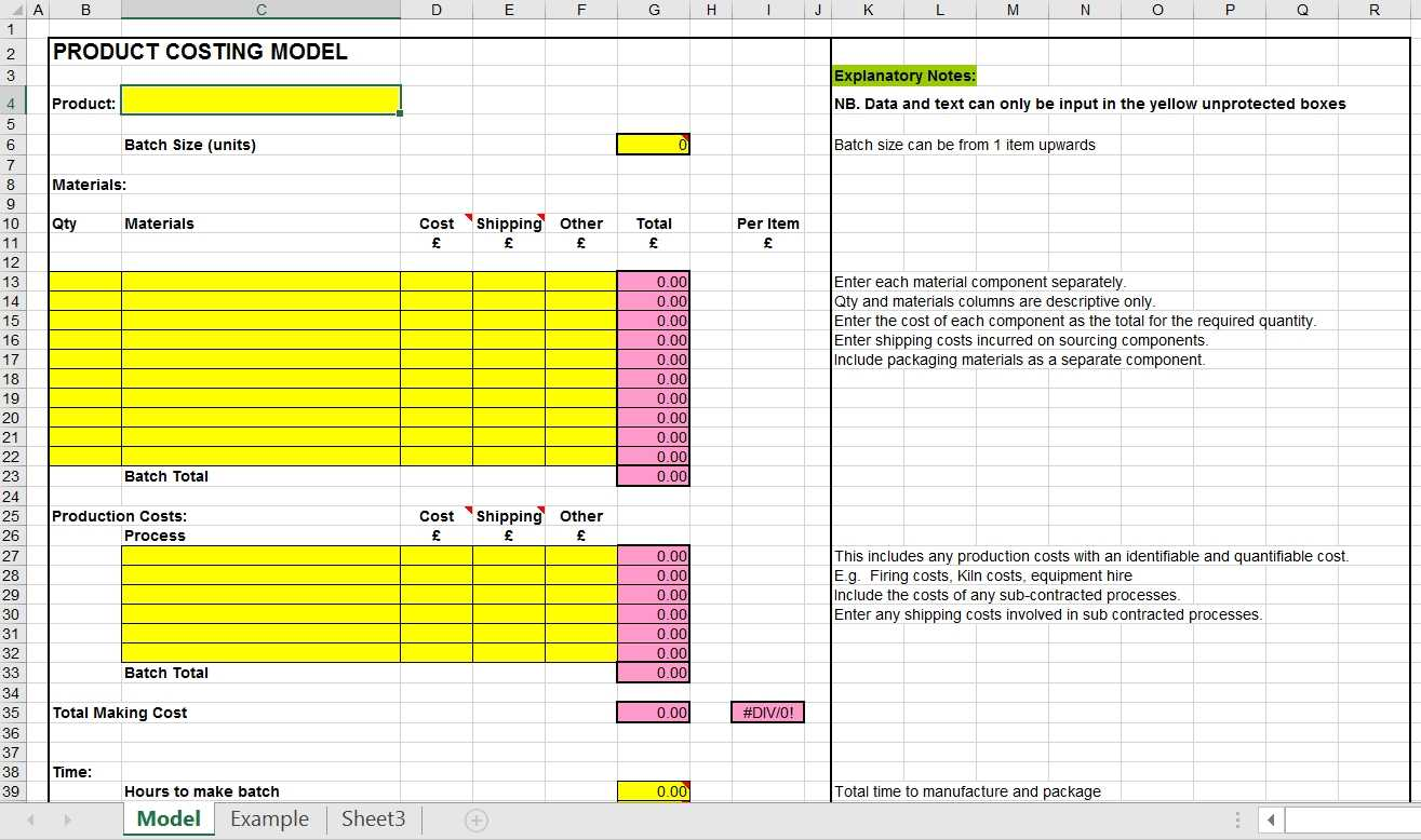 Pricing Your Product Product Costing Excel Template