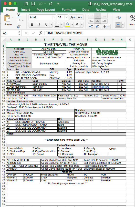 FREE Call Sheet Template In Excel