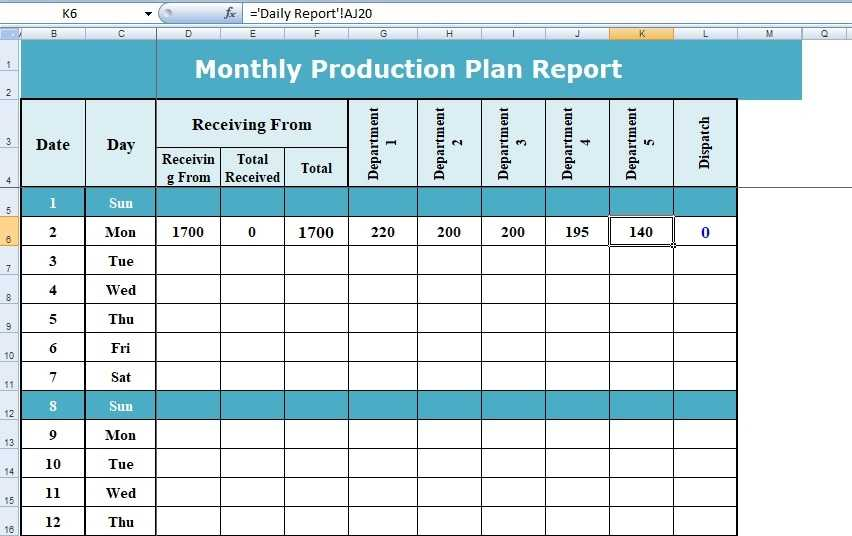 How To Use Excel Format Of Production Planning