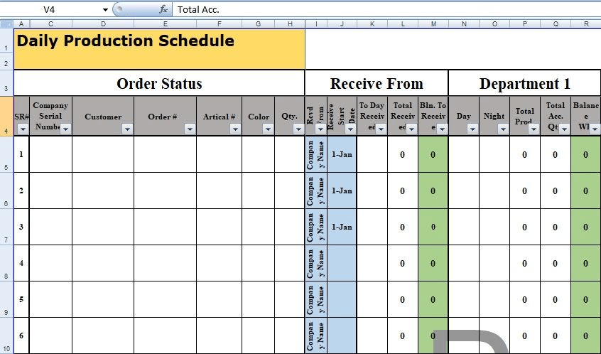 Daily Production Schedule Template Excel Free Excel