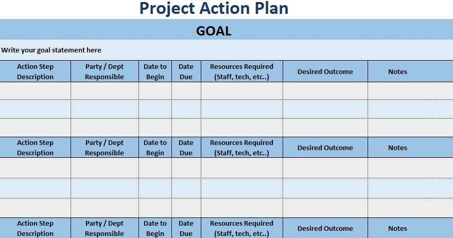 3 Free Project Action Plan Template XLS Free Excel