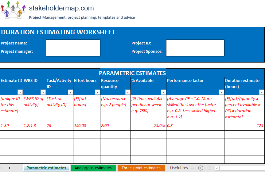 Duration Estimation Worksheet Excel Template FREE