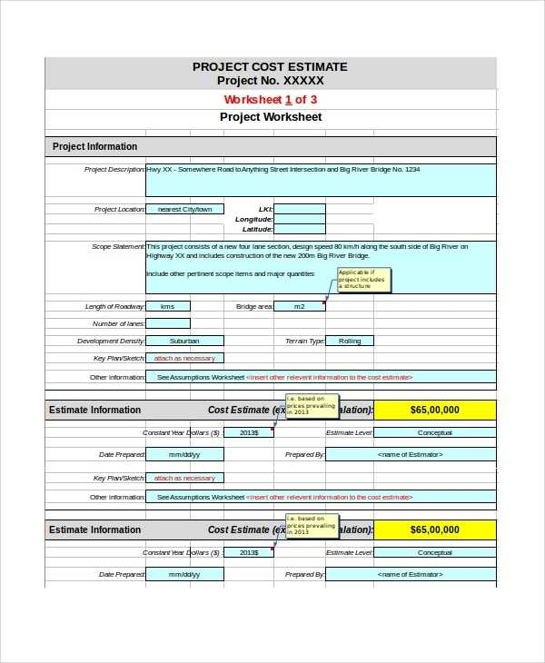 FREE 8 Sample Project Estimate Templates In Excel MS
