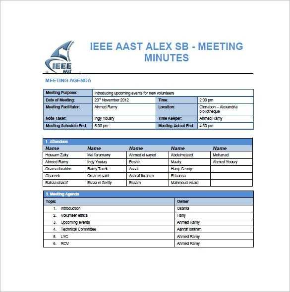 14 Project Meeting Minutes Template Google Docs Word